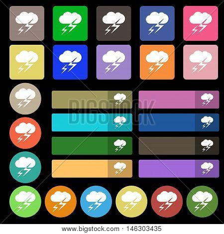 Weather Icon Sign. Set From Twenty Seven Multicolored Flat Buttons. Vector