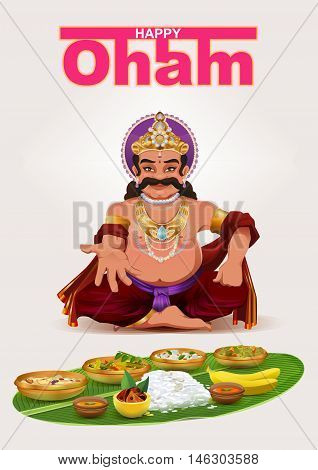 Happy Onam festival in Kerala. God King Mahabali. Template greeting card vector illustration