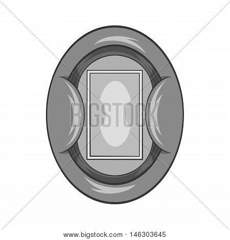 Oval football stadium icon in black monochrome style isolated on white background. Championship symbol vector illustration