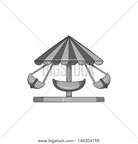 Childrens carousel icon in black monochrome style isolated on white background. Attraction symbol vector illustration