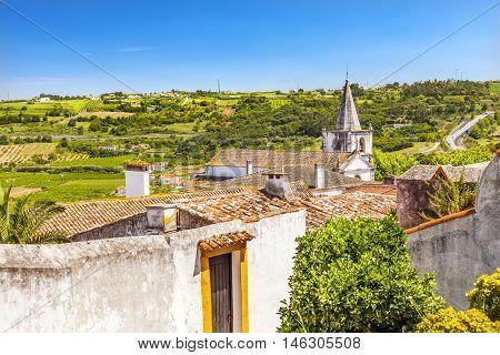 Sao Paolo Church Orange Roofs Countryside Farmland Medieval Town Obidos Portugal.