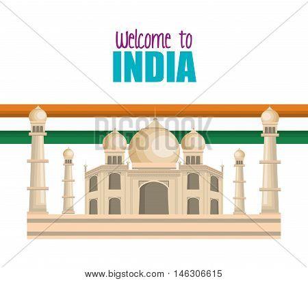 set monuments india design vector illustration eps 10