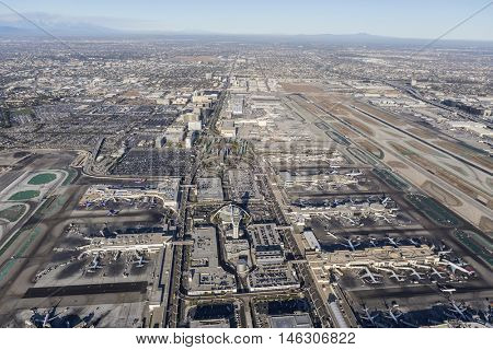 Los Angeles, California, USA - August 16, 2016:  Afternoon aerial view of LAX terminals and Century Blvd.
