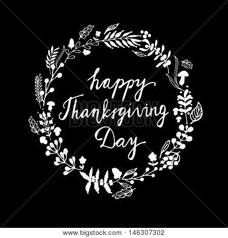 Autumnal round frame for Thanksgiving Day. Wreath of autumn leaves. Background with hand drawn autumn leaves.Vector illustration with mushroom acorn and handwritten word in Black and white