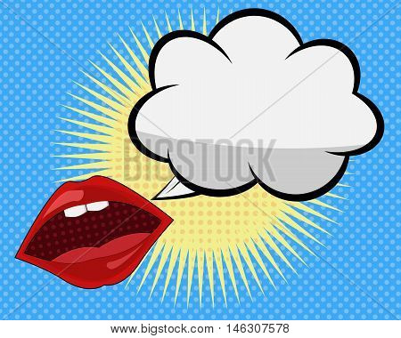 Mouth and Speach Bubble Comic Pop Art with Dot Background Vector