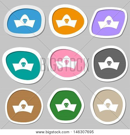 Black Pirate Hat With Skull And Crossbones Icon Symbols. Multicolored Paper Stickers. Vector