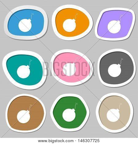 Bomb Icon Symbols. Multicolored Paper Stickers. Vector
