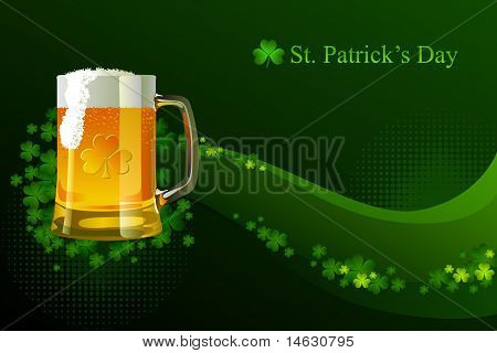 Frosty glass of light beer for St Patrick's Day