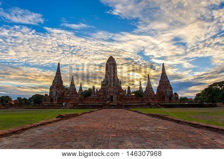 Old Temple wat Chaiwatthanaram of Ayutthaya Province (Ayutthaya Historical Park) Asia Thailand