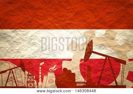 Energy and Power icons set with Austria flag. Sustainable energy generation and heavy industry.