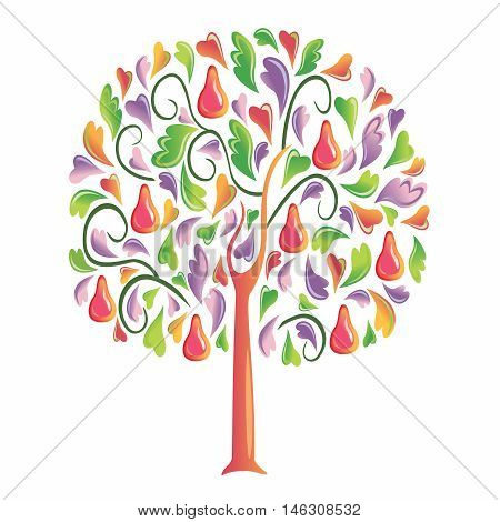 Vector Childish Creative Cartoon Colorful Tree, isolated on white background