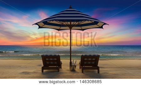 3d rendering image of wooden day bed under the blue and white umbrella on the beach perspective in sunset time under twilight sky