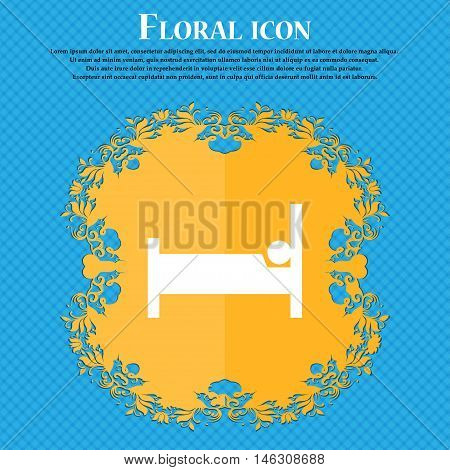 Hotel Icon Icon. Floral Flat Design On A Blue Abstract Background With Place For Your Text. Vector