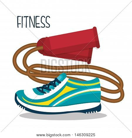 cartoon skipping rope sneakers fitness elements design vector illustration eps 10