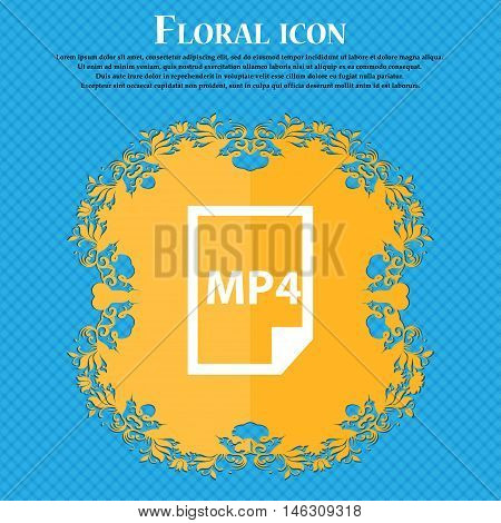 Mp4 Icon Icon. Floral Flat Design On A Blue Abstract Background With Place For Your Text. Vector
