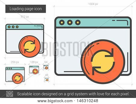 Loading page vector line icon isolated on white background. Loading page line icon for infographic, website or app. Scalable icon designed on a grid system.