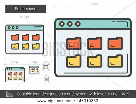 Folders vector line icon isolated on white background. Folders line icon for infographic, website or app. Scalable icon designed on a grid system.