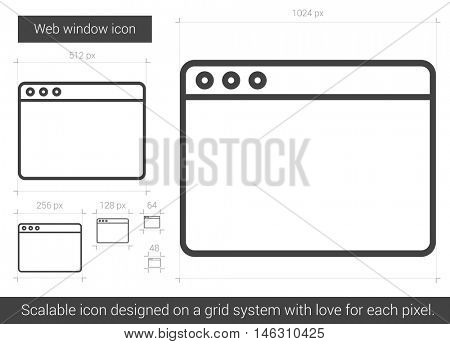 Web window vector line icon isolated on white background. Web window line icon for infographic, website or app. Scalable icon designed on a grid system.