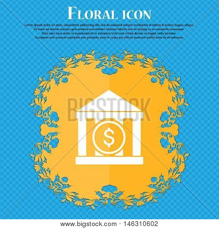 Bank Vector Icon Icon. Floral Flat Design On A Blue Abstract Background With Place For Your Text. Ve