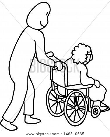 Young Man pushing granny in wheel chair
