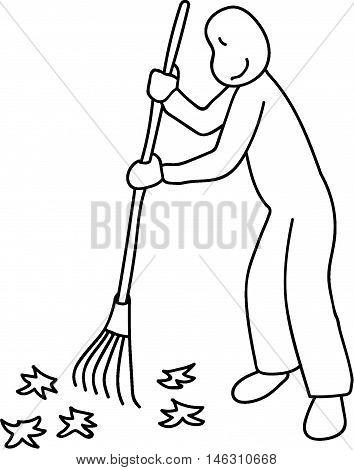 young man raking leaves volunteering lawn service