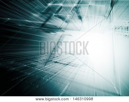 Abstract background element. Fractal graphics series. Three-dimensional composition of intersecting grids and motion blur. Information technology concept. Blue and white colors.