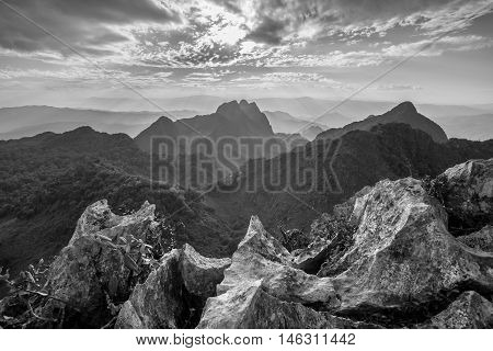 Layer of mountains and mist at sunset time Landscape at Doi Luang Chiang Dao High mountain in Chiang Mai Province Thailand. Black & White