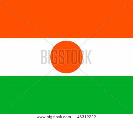 Flag of Niger in correct size proportions and colors. Accurate official standard dimensions. Nigerien national flag. African patriotic symbol banner element background. Vector illustration
