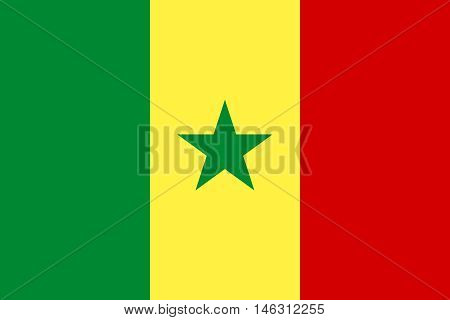 Flag of Senegal in correct size proportions and colors. Accurate official standard dimensions. Senegalese national flag. African patriotic symbol banner element background. Vector illustration