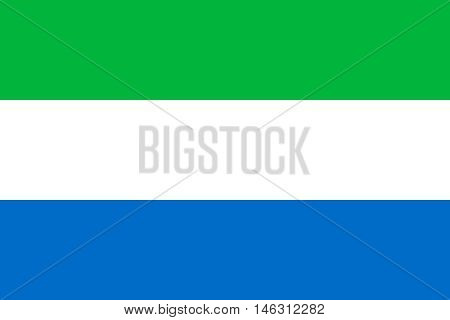 Flag of Sierra Leone correct size proportions colors. Accurate official standard dimensions. Sierra Leonean national flag. African patriotic symbol banner element background. Vector illustration