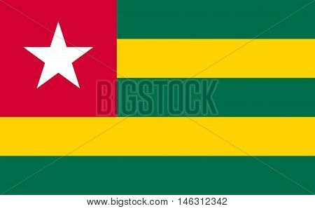 Flag of Togo in correct size proportions and colors. Accurate official standard dimensions. Togolese national flag. African patriotic symbol banner element background. Vector illustration