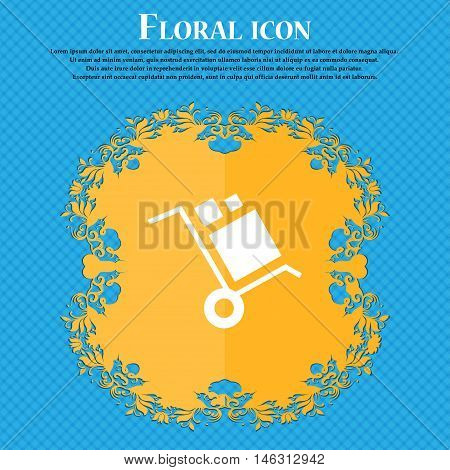 Loader Icon Icon. Floral Flat Design On A Blue Abstract Background With Place For Your Text. Vector