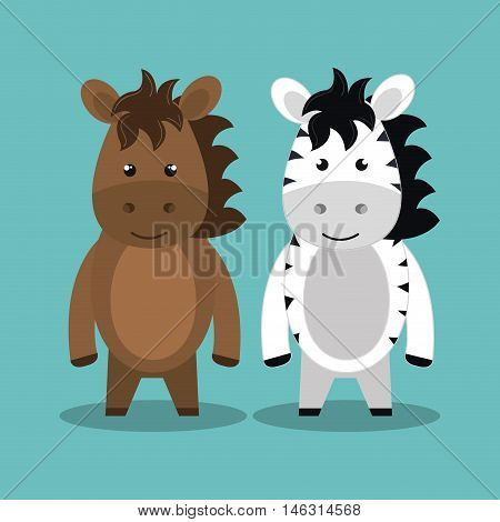 cartoon animal zebra horse plush stuffed design vector illustration eps 10