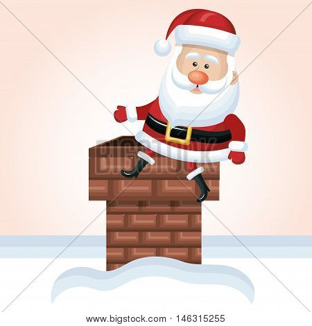 santa claus chimney design vector illustration eps 10