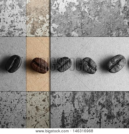 Roasted Coffee Beans on texture, color and monotone