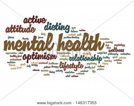 Vector concept or conceptual mental health or positive thinking abstract word cloud isolated on background metaphor to optimism, psychology, mind, healthcare, thinking, attitude, balance or motivation