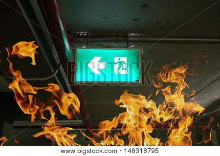 fire exits in car park and frame of fire burn