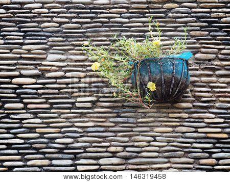 Hanged flowerpot decoration on stone wall background