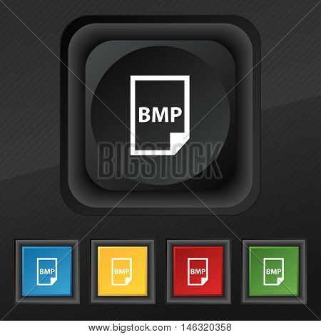 Bmp Icon Symbol. Set Of Five Colorful, Stylish Buttons On Black Texture For Your Design. Vector