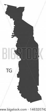 Togo grey map isolated vector high res