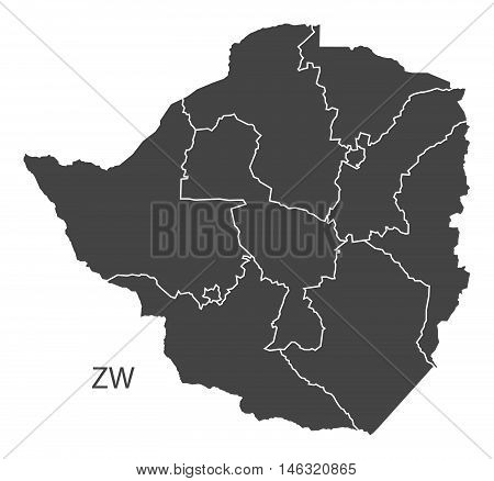 Zimbabwe with regions isolated vector high res