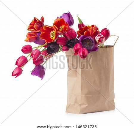 colorful tulips in a paper bag on a white background