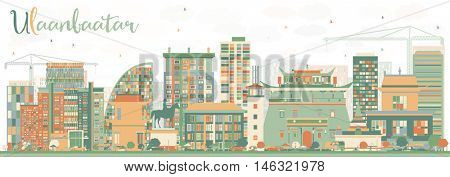 Abstract Ulaanbaatar Skyline with Color Buildings. Business Travel and Tourism Concept with Historic Buildings. Image for Presentation Banner Placard and Web Site.