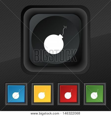 Bomb Icon Symbol. Set Of Five Colorful, Stylish Buttons On Black Texture For Your Design. Vector