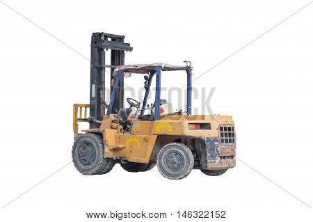 Old yellow forklift truck isolated on white background with clipping