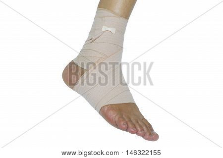 Foot injury Bandaged foot on a white background