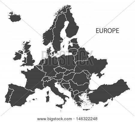 Europe complete continent with country borders grey map isolated vector