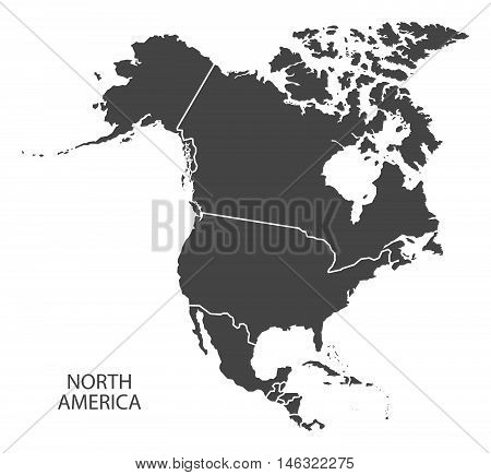 North America complete continent with country borders grey map isolated vector