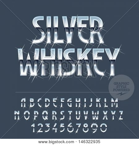Silver sparkling reflective vector set of letters, symbols and numbers