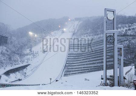 Sapporo Hokkaido JAPAN - December 12 2011: View of ski jump resort on Mt. Okura in winter Sapporo Hokkaido Japan